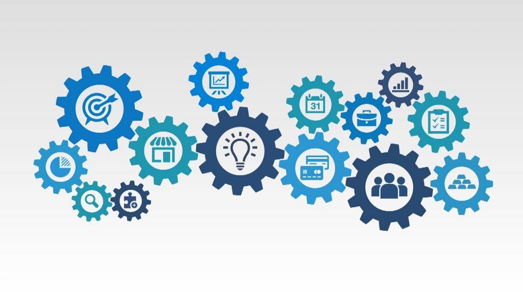 successo, strategia, team, business, marketing come ingranaggi della gestione aziendale